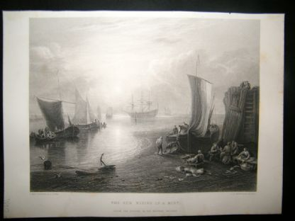 After Turner 1862 Antique Print, The Sun Rising in a Mist, Maritime, Art Journal | Albion Prints